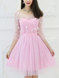 13d348db0a2c Pink Fit & Flare Above Knee Cute Dress for Bridesmaid Prom _DRESS.PH ...