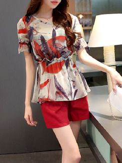 3f7b964c37e5 Red and Cream Two Piece Blouse Shorts Plus Size Jumpsuit for Casual Office  Evening On Sale ...
