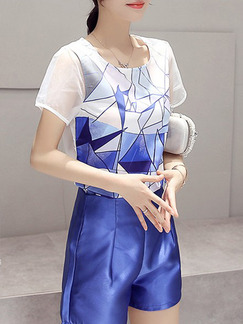 3e53c61f979d Blue and White Two Piece Shirt Shorts Plus Size Jumpsuit for Casual Party  Evening On Sale ...