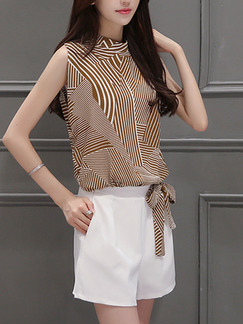 9579e784f81a ... Brown and White Two Piece Shirt Shorts Plus Size Wide Leg Jumpsuit for Casual  Office Evening