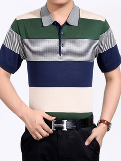 e6d492d8ef7 Colorful Plus Size Polo Placket Front Knitted Contrast Stripe Men Shirt for  Casual Office