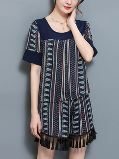 d015b345534e Blue Two-Piece Linking Printed Tassels Plus Size Shorts Jumpsuit for Casual  Party