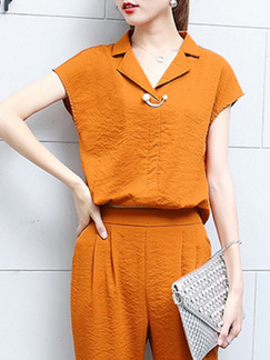 3f52b6d10de5 ... Orange Plus Size Loose Two-Piece Pants Jumpsuit for Casual Office
