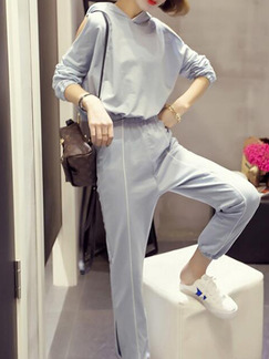 1662d20805de Grey Knitted Plus Size Loose Hooded Off-Shoulder Linking Contrast Furcal  Adjustable Waist Long Sleeve