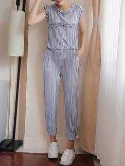 48d3c1be097b Grey Plus Size Chiffon Round Neck Slim Pleated Ruffled Twist Pattern Harem Pants  Jumpsuit for Casual