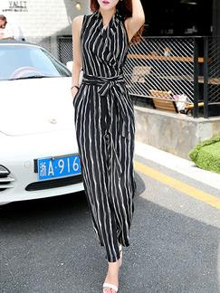 a8e5cbcae76 Black and White Chiffon Plus Size Slim Cross V Neck Contrast Stripe Band  Belt Wide Leg
