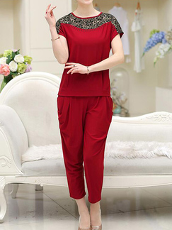 604ee85bbd66 Wine Red Loose Cutout Linking Harlen Two Piece Pants Plus Size Jumpsuit for  Casual Party Evening ...