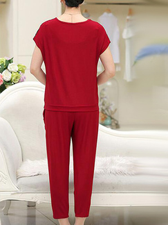 29701dd2bf4a ... Wine Red Loose Cutout Linking Harlen Two Piece Pants Plus Size Jumpsuit  for Casual Party Evening