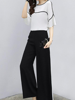 7c975ad982 White and Black Loose Contrast Linking Wide-Leg Pants Jumpsuit for Casual  Party Office Evening ...