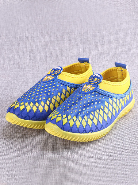 Blue and Yellow Polyester Comfort Slip On Boy Shoes for Casual