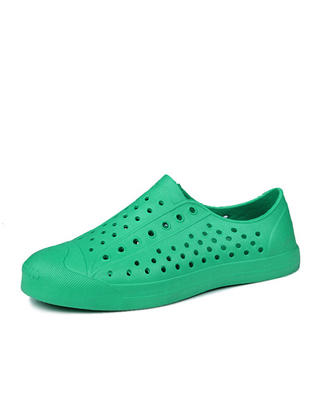 Green Rubber Round Toe Platform 2cm Perforated Men Shoes