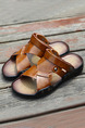 Brown Leather Open Toe Platform Instep Strap Comfort 3cm Sandals