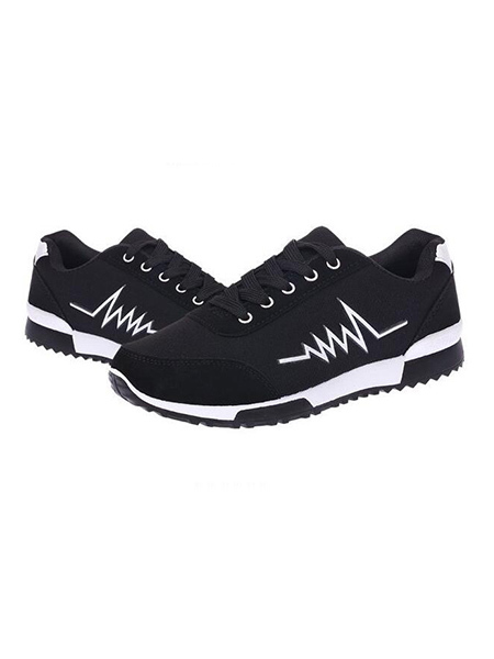 Black and White Leather Round Toe Platform Lace Up Rubber Shoes