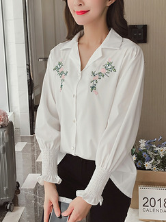 d84269adbdc64 White Plus Size Loose Lapel Embroidery Adjustable Flare Long Sleeve Top for Casual  Office